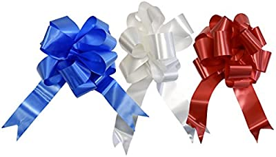 Set of 3 Giant Patriotic Pull Bows! 3 Elegant Colors - Red, White, Blue - 10 Inch Bow - Beautiful Pull Bows Perfect for Decorations for Gifts, Parties, 4th of July, BBQ's, and More!