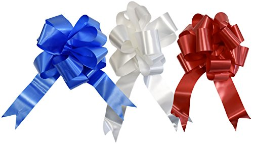 Set of 3 Giant Patriotic Pull Bows! 3 Elegant Colors - Red, White, Blue - 10 Inch Bow - Beautiful Pull Bows Perfect for Decorations for Gifts, Parties, 4th of - 4th July Of Party Music
