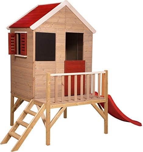 Madera Casa de Juguete en Platform para al Aire Libre | Niños Madera Casa de Juguete Tipo Abierta con Ventanas, Tiendas, Pizarra, Escalera, tobogán, Mitad para Puerta: Amazon.es: Jardín