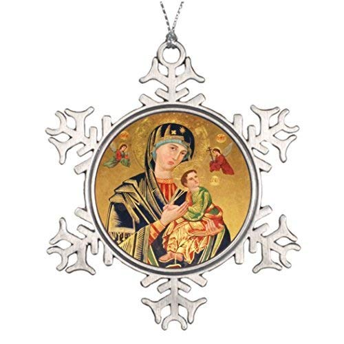 (EvelynDavid Snowflake Ornament Personalised Christmas Tree Decoration Russian Orthodox Icon - Virgin Mary and Baby Jesus Outdoor Christmas Snowflake Ornaments)