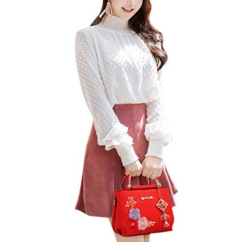 Weishazi pelle design rosso in granato tracolla ricamati donna Borsa per fiori a rwfqrCp