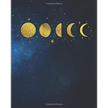 Bullet Journal: 8 x 10 Gold Moon Phases Galaxy Bullet Journal - Blank Notebook, 1/4 inch Dot Grid with 160 Pages, Sturdy Matte Softcover Dotted Paper, ... Watercolor Constellations Stars Galaxy Diary