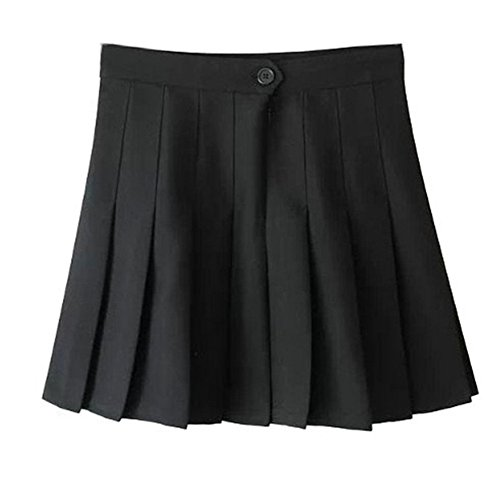 Women School Uniforms plaid Pleated Mini Skirt,2,Black a