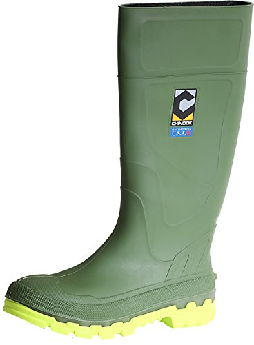 Chinook Men's Kickaxe Soft Toe Slip Resistant Rain Boot (11 D(M) US, Green/Lime) (Soft Slip Toe)