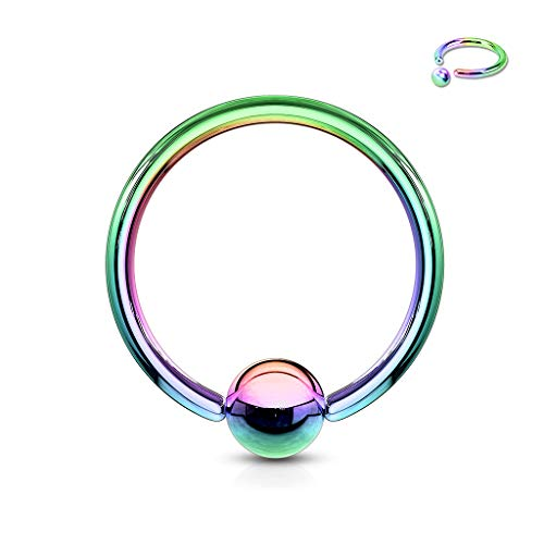 Inspiration Dezigns 10G, 8G, 6G, 4G, 2G Captive Bead Ring Titanium Ion Plated Over 316L Surgical Stainless Steel - Sold Individually (10G Rainbow)