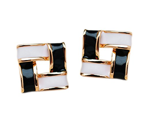 Latigerf Gold Plated Non-Pierced Clip on Square Earring Clips for non Pierced Ears Enamel Black