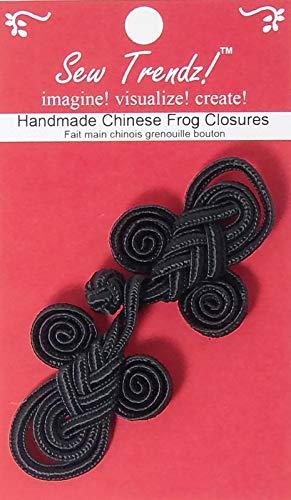 Cierres de botón para ranas chinas, hechos a mano, negro, 8 ...