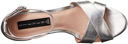 Steve Madden Steven by Women's Voomme Dress Sandal, Black, US Silver