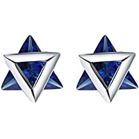Blue Crystal Triangle Statement Earrings Valentine's Day Gift 925 Sterling Silver Perfect Gift