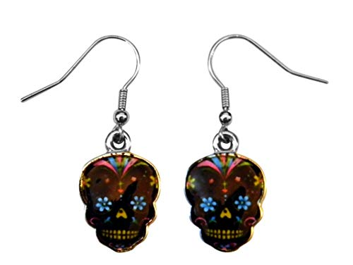 (Day Of The Dead Sugar Skull Earrings - Assorted Colors (Black)
