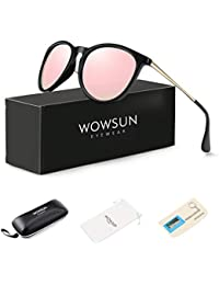 Polarized Sunglasses for Women Vintage Retro Round Mirrored Lens