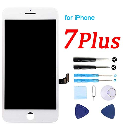 (for iPhone 7 Plus Screen Replacement White 5.5 Inch LCD Display 3D Touch Screen Digitizer Replace Screen with Repair Tools Kit & Screen Protector)