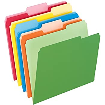Pendaflex Two-Tone Color File Folders, Letter Size, 1/3 Cut, Assorted Colors, Total of 100 Folders per Box (152 1/3 ASST)