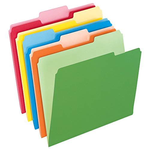 Colored File Folder - Pendaflex Two-Tone Color File Folders, Letter Size, Assorted Colors, 1/3 Cut, 100 per box (152 1/3 ASST)
