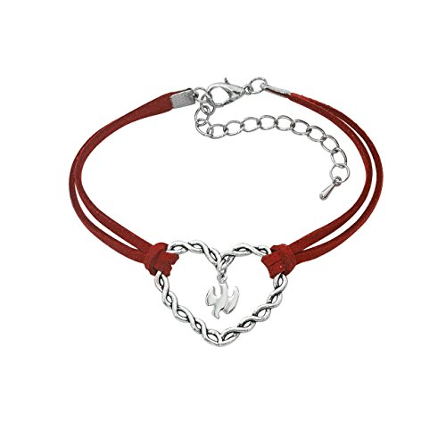- Silver Toned Holy Spirit Heart Red Cord Confirmation Bracelet