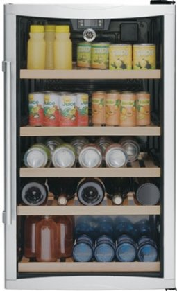 19″ Beverage Center with 31-Bottle Capacity 109-Can Capacity 5 Wooden Racks Interior Lighting Temperature Display and Electronic Controls
