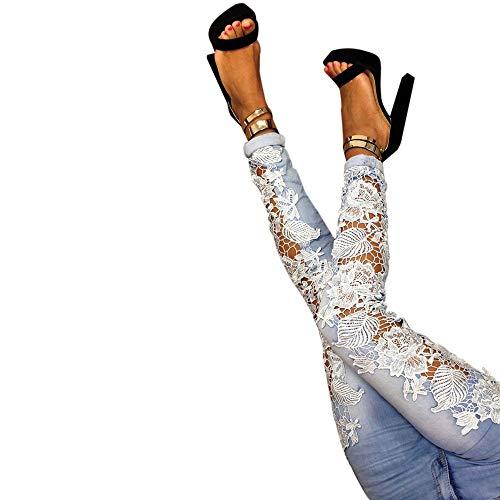 El Moda Encaje Claro Agujero Flaco Ahueca Vaqueros Azul Denim Fuera Npradla Recto Tendencia Hacia Empalmado Largo Casual Jeans Floral Px4pqnZAw