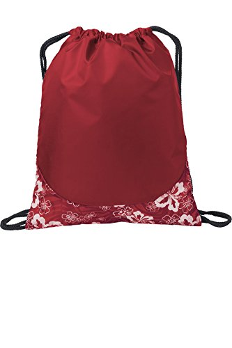 Port Authority luggage-and-bags Patterned Cinch Pack OSFA Tropical Red/ White