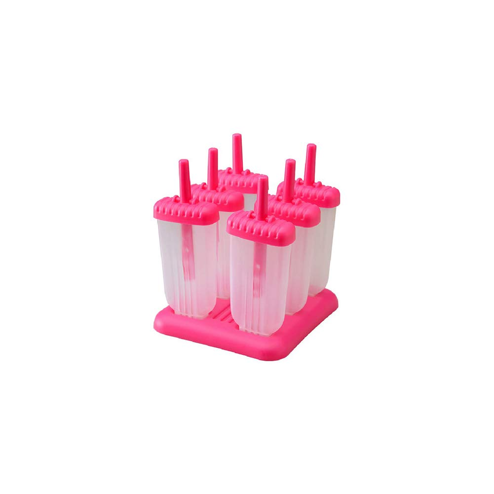 1 PCS Reusable Ice Cream Thicken Ice Pops Maker Lightweight Popsicle Molds Trays for DIY Homemade Ice Pops Cream Pink