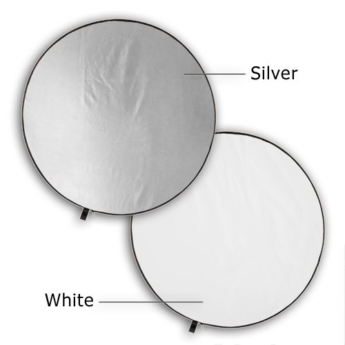 Fotodiox Pro 2-in-1 Reflector - 42in (100cm) Premium Grade Collapsible Disc (Silver/White)