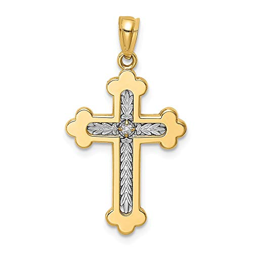 14k Y/w Gold Budded Cross Religious .015 Diamond Pendant Charm Necklace Fine Jewelry Gifts For Women For Her