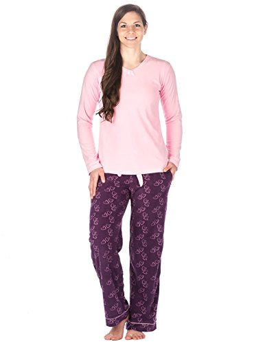 Lounge Set Heart (Noble Mount Womens Microfleece Lounge Set - hearts Purple - Large)
