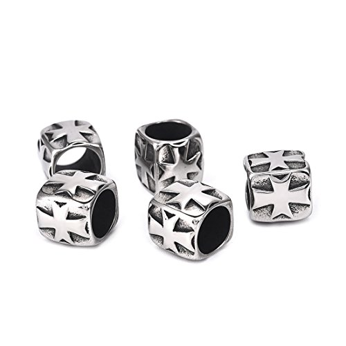 Stainless Steel European Beads Cross Spacer Beads for Religious Bracelet Jewelry Making 5PCS 8.4mm - Cross Spacer