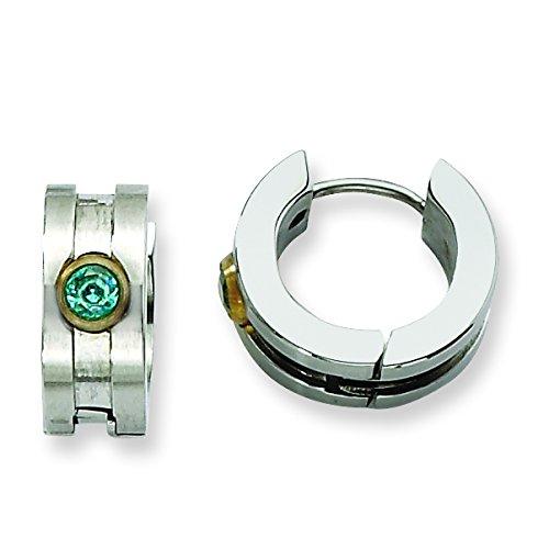 Stainless Steel Teal CZ & Yellow-plated Hinged Hoop Earrings: Length 10 mm