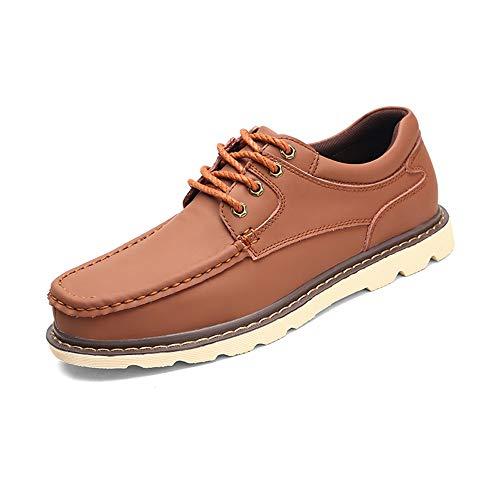 Men's Work Oxfords Casual Winter Fleece Inside Low Top Leisure Big Size Shoes (Color : Light Brown, Size : 8.5 D(M) US) (Footwear Light Bone)