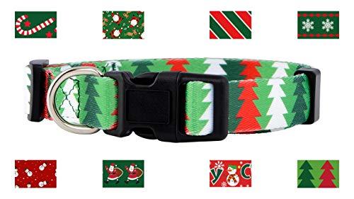 Native Pup Christmas Dog Collar (Medium, Christmas Trees