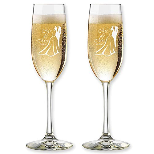 Set of 2 Personalized Wedding Champagne Flutes- Mr and Mrs Design - Engraved Flutes for Bride and Groom Gift for - Toasting Personalized Design Flutes