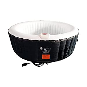 ALEKO HTIR6BKW Round Inflatable Hot Tub Spa with Cover 6 Person 265 Gallon Black and White
