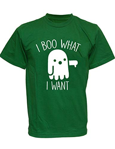 SODAtees Ghost I Boo What I Want Men's T-Shirt Spooky Funny Halloween Graphic Tee -Green-wht-S -