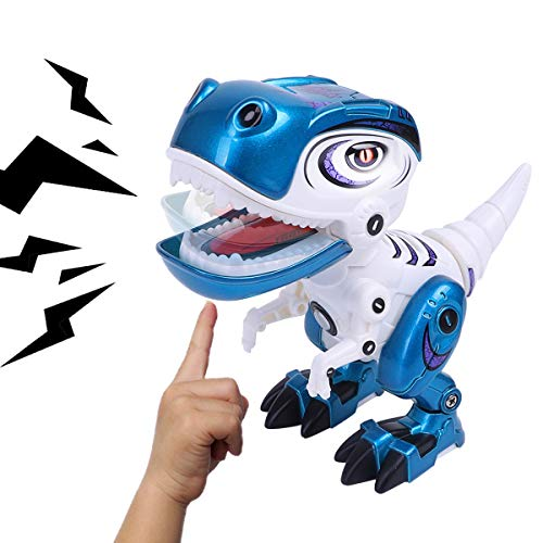 Toy Robots Dinosaur for Boys or Girls –Mini Dinosaur Robots for Kids, Posable Body, Bright LED Toys with Sounds Ages 3 4 5 6 ()