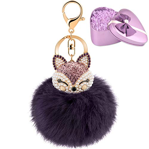 JOUDOO Fluffy Fur Ball Keychain With Gift Box Fox Head Pom Pom Keyring GJ020 (purple)