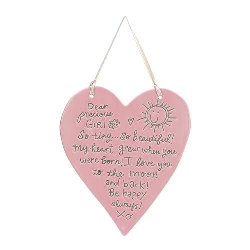 DEMDACO Dear Precious Girl Baby Pink 7 x 6 Glossy Ceramic Stoneware Decorative Plaque