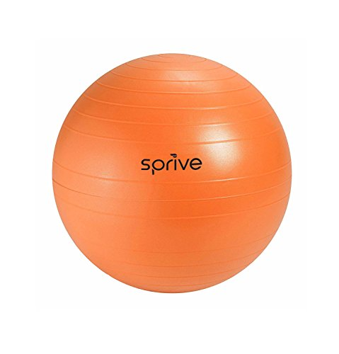 Anti-Burst Fitness Ball (75 cm, Sunset Orange), Sprive Globe with Foot Pump, Ribbing for Enhanced Grip, Eco-Friendly, Durable