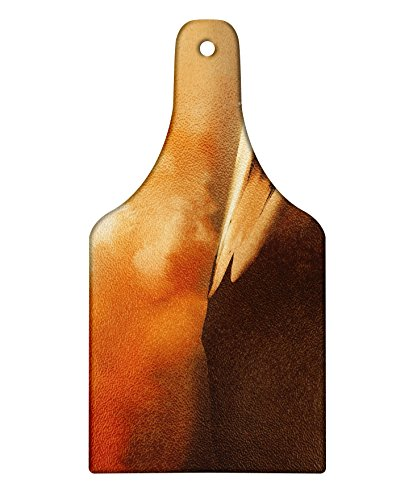 Lunarable Fantasy Cutting Board, Mysterious Shadow Man Walking Through Sand Storm in Desert Hiking Wind Hot Image Art, Decorative Tempered Glass Cutting and Serving Board, Wine Bottle Shape, Cream