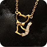 JA331 Faux Diamond Studded Cat Necklace, Kitten Cat Lovers Necklace Jewelry