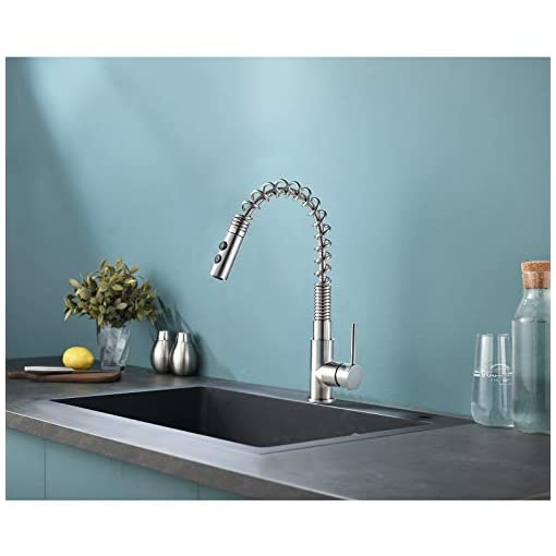 Farmhouse Kitchen VALISY Lead-Free Modern Commercial Farmhouse Spring Single Hole Brushed Nickel Pulldown Kitchen Bar Sink Faucet,1 Handle… farmhouse sink faucets