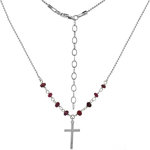 Silver Faceted Garnet Necklace (Sterling Silver Dainty Cross Necklace Genuine Garnet Beads Faceted Rhodium 16-18 inch)