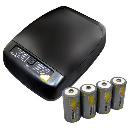 Hitech -AA/AAA/C/D/9v battery charger/discharger with Hitech 4 size C Rechargeable NiMh 5000mAh-big capacity for Electronics equip