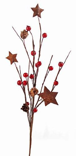 Star Flower Stem - Package of 12 Pine Cone, Rusty Star and Mixed Berry Floral Holiday Picks