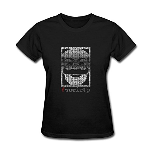 ZhiBo Creative Hacker Mask Binary A One A Zero for for Mr. Robot for Fsociety for Hacker Customized T-shirt for Woman Black Small
