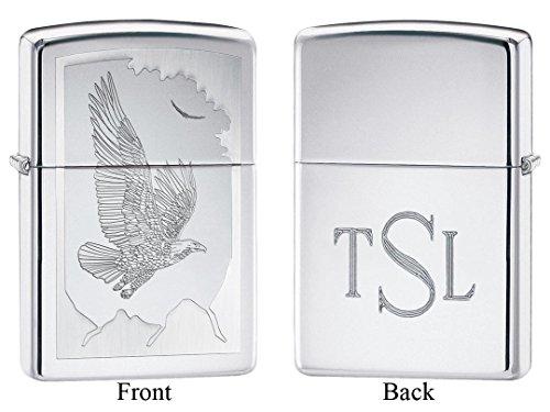 Personalized Zippo Birds of Prey High Polish Chrome Lighter with Free Roman (Prey High Polish)