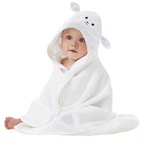 Organic Bamboo Baby Hooded Towel with Bonus Washcloth | Ultra Soft and Super Absorbent Toddler Hooded Bath Towel with Cute Lamb Face Design | Great Infant/Newborn Shower Present for Boy or Girl - Infants Hooded Bath Towel