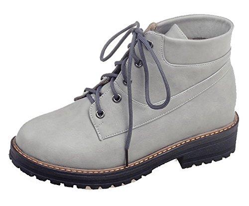 AgeeMi Shoes Damen Schnüren Rund Schließen Zehe Niedriger Absatz Winter Stiefel EuX133 Grau