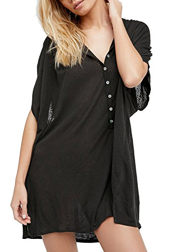 KingsCat Sexy Batwing Sleeve Button Front T-Shirt Mini Dress/Swimsuit Cover-UPS,Black (Button Power T-shirt Black)