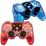 Creative Mind Interactive DGPS3-1319 Lava Glow Wireless Controller Twin Pack - Without Rumble- In Clamshell- Blue/Red