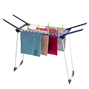Drynatural Gullwing Drying Rack Large Foldable Standing Laundry Dryer Clothes Drying Rack for Indoor Outdoor, Dark Blue & White
